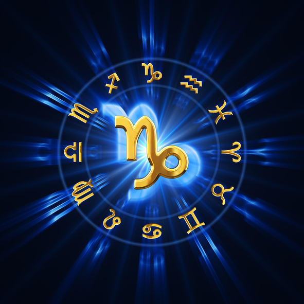 Zodiac wheel with gold signs. 3D render