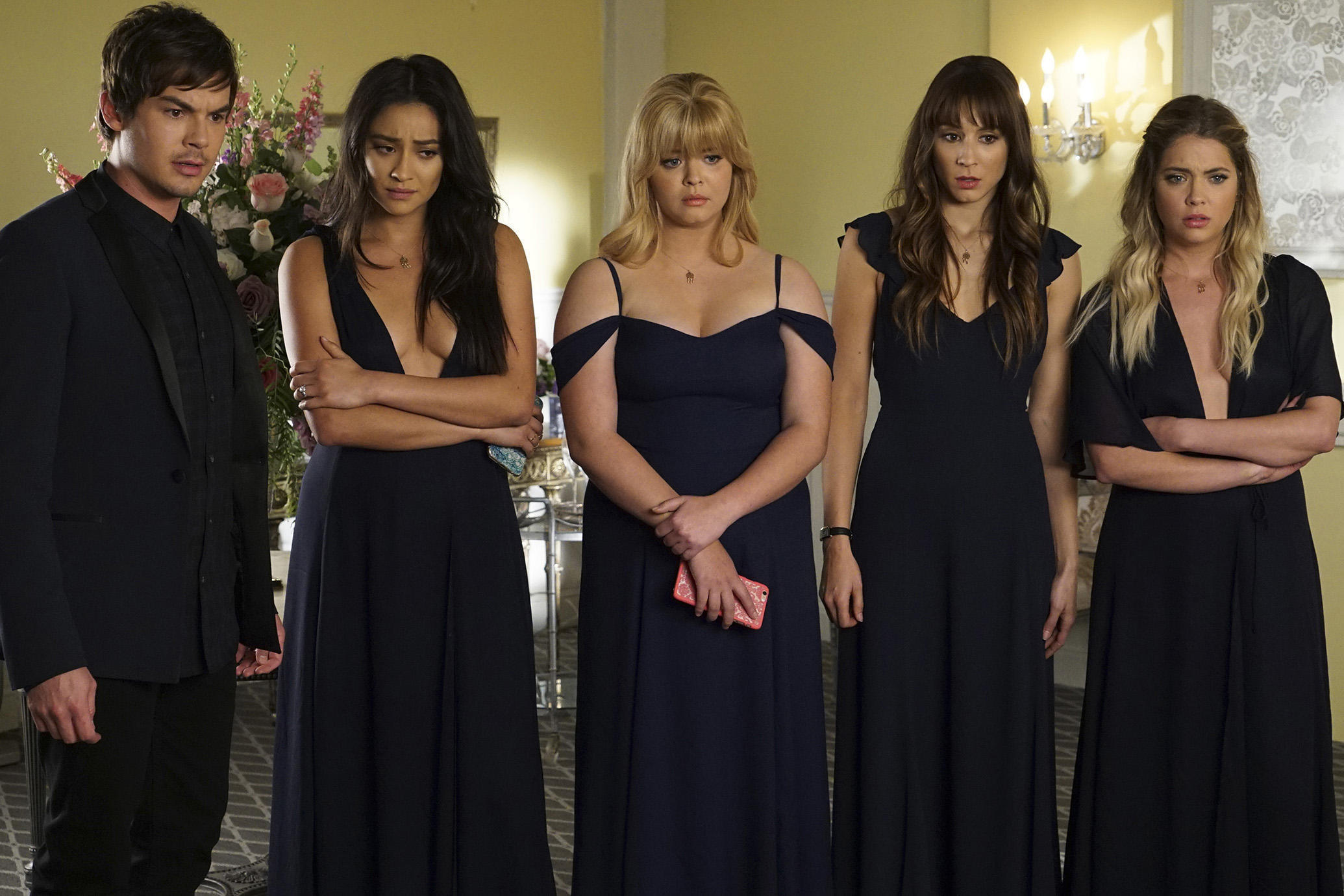 "PRETTY LITTLE LIARS - ""Till Death Do Us  Part"" - Seven seasons of secrets come tumbling out in the two-hour series finale of Freeform's hit original series ""Pretty Little Liars,"" airing TUESDAY, JUNE 27 (8:00 - 10:01 p.m. EDT). Immediately following the finale, stars Troian Bellisario, Ashley Benson, Lucy Hale, Shay Mitchell and Sasha Pieterse, as well as executive producer I. Marlene King, will sit down for an hour-long unbarred and uncensored tell-all after-show to discuss all of the series' tightly held secrets, behind-the-scenes insights, and top moments. Fans can catch up on all of the drama with an all-day marathon of season seven starting at 11:00 a.m. EDT and running up to the two-hour series finale at 8:00 p.m. EDT. (Freeform/Eric McCandless) TYLER BLACKBURN, SHAY MITCHELL, SASHA PIETERSE, TROIAN BELLISARIO, ASHLEY BENSON"