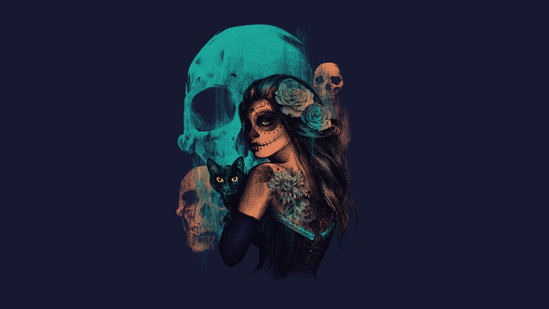 women-sugar-skull-skulls-artwork-fantasy-art