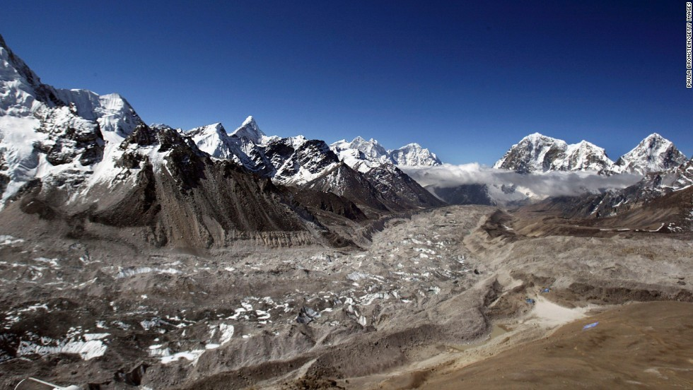 EVEREST HIMALAYAN RANGE, NEPAL - MAY 15:  Aerial photograph of the Khumbu Glacier and the Everest Himalayan range May,15,2003 on the Nepal - Tibet border. A record 1,000 climbers plan assaults on the 8,850-meter (29,035-foot) summit of Mount Everest to celebrate the 50-year anniversary of the first successful assault on the World's tallest mountain May 29, 2003. (Photo by Paula Bronstein/Getty Images)
