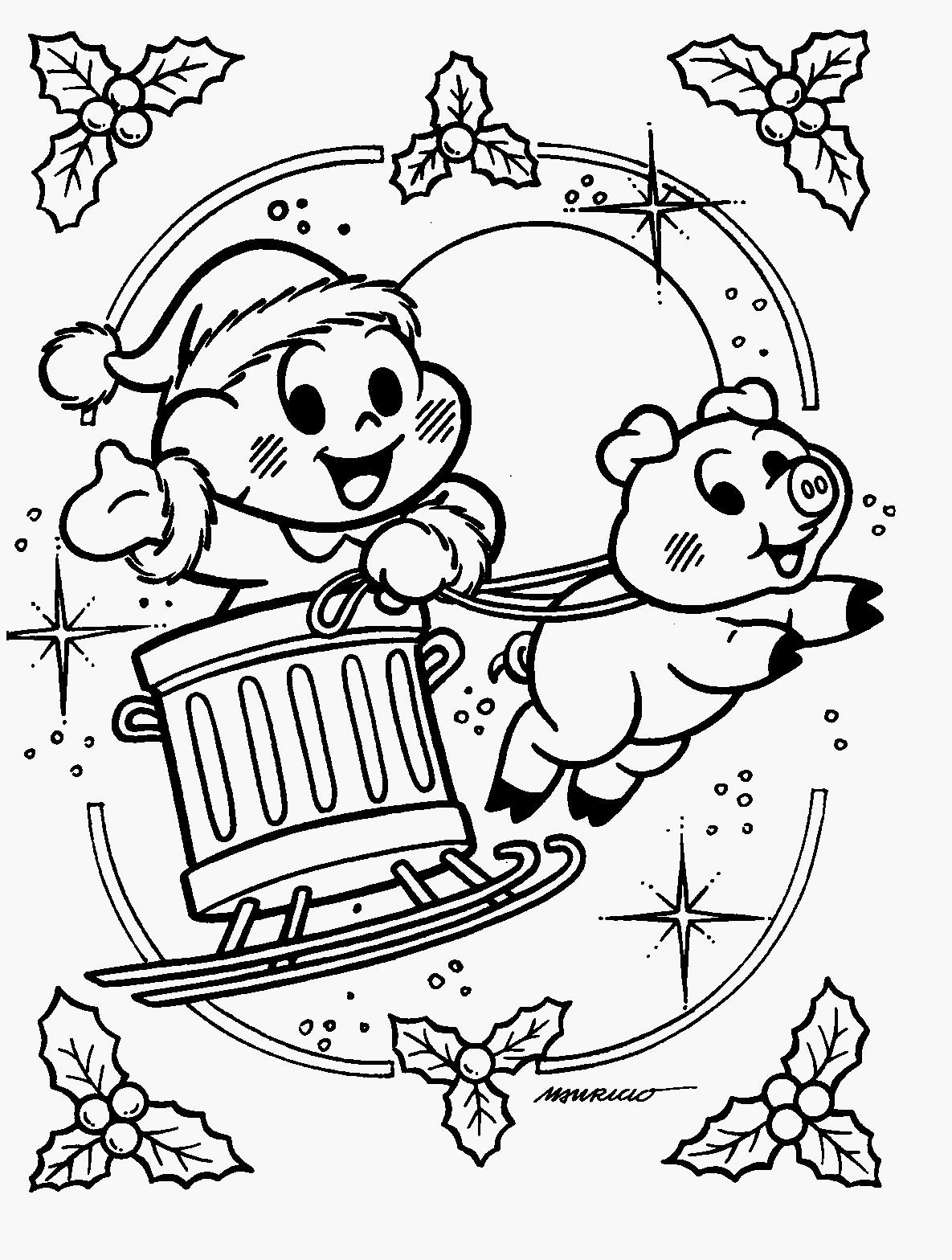 Cascao Para Colorir Bibi E Pedrinho Natal Turma Da Mnica Desenhos