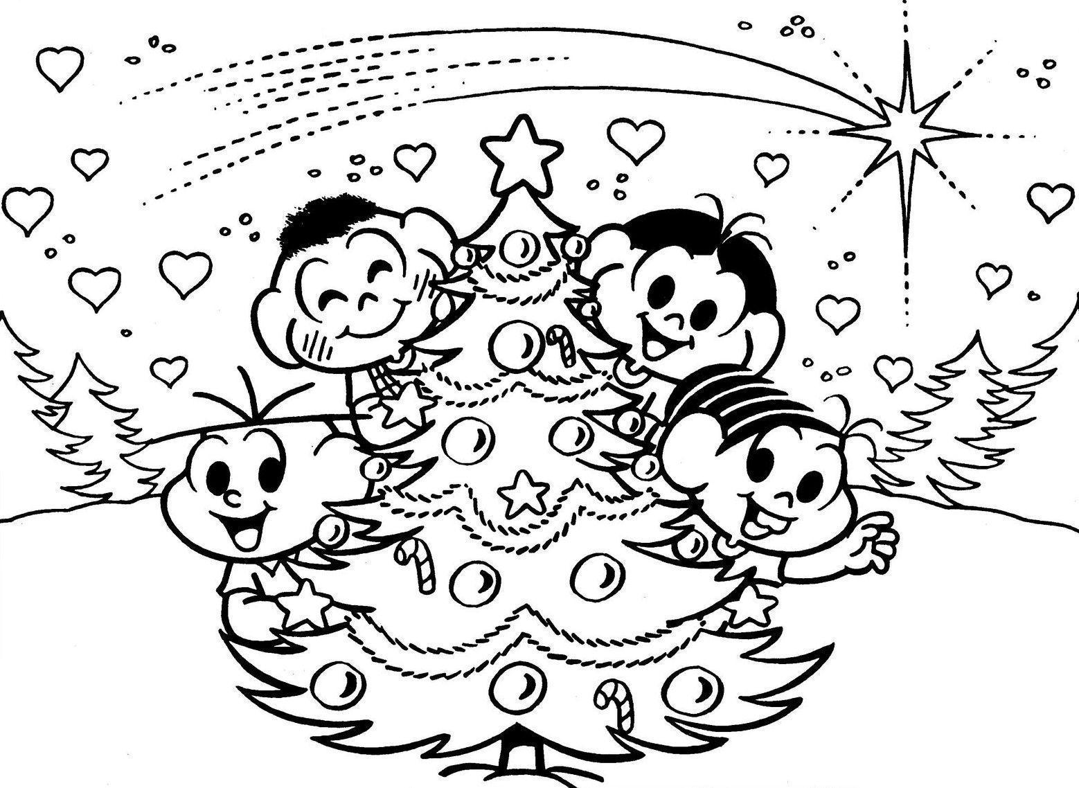 Desenhos Natal Colorir Turma Monica